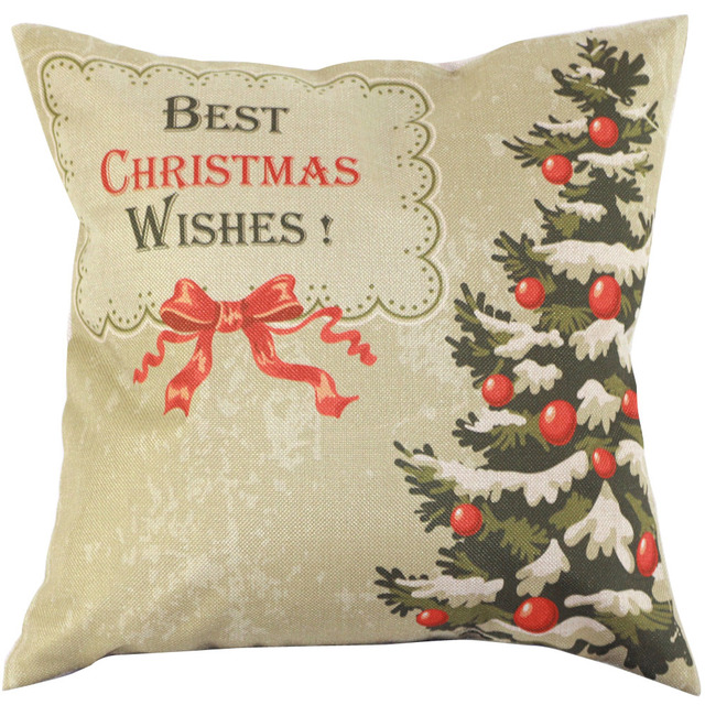 Vintage Best Christmas Wishes Pillowcase Cover Linen Material Cushion Case Square Shape Hot Selling 2017