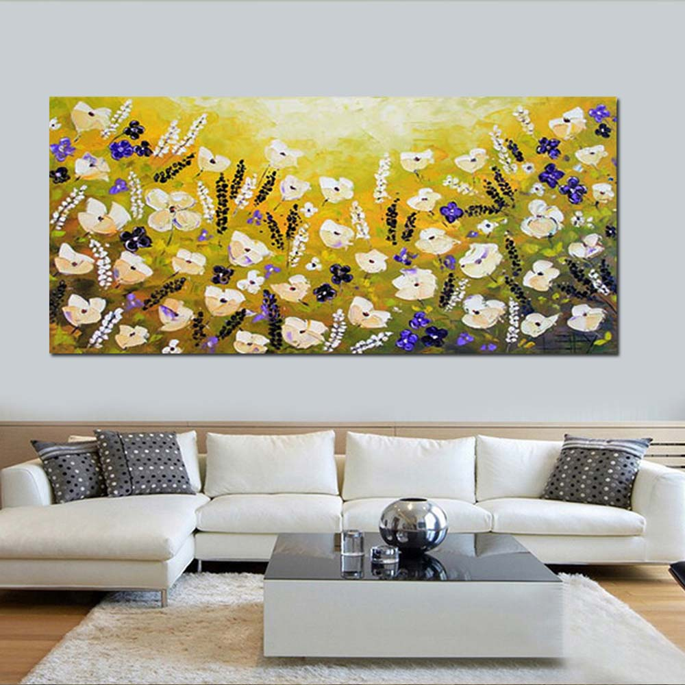 Hand Painted Canvas Abstract California Yellow Poppies Oil Painting ...