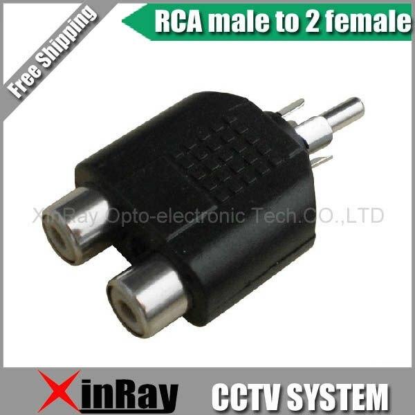 Free Shipping High Quaility 10pcs/lot New RCA 1 Male to 2 Female AV Audio Splitter Adapter ,CCTV Accessories ,Wholesale XR-AC8 imc hot 5pcs rca av audio y splitter 1 male to 2 female plug adapter new