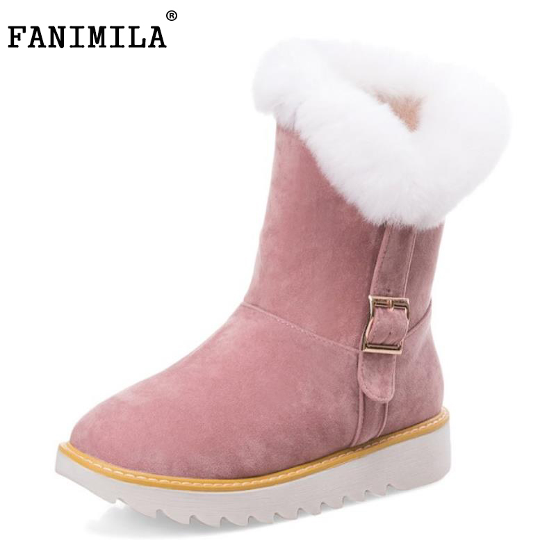 FANIMILA Size 34-43 Women Mid Calf Flats Boots Women Metal Thick Fur Half Short Boots Warm Shoes For Winter Botas Woman Footwear double buckle cross straps mid calf boots