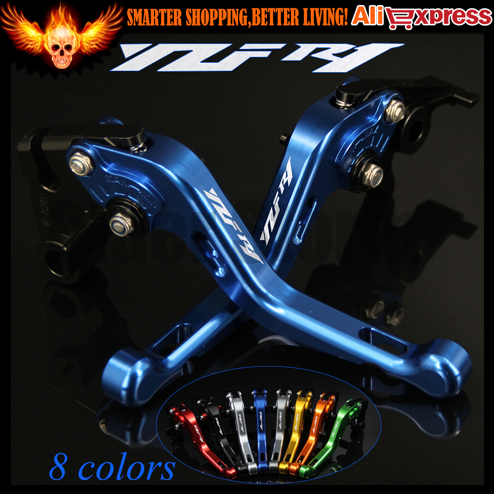 Laser Logo(YZF R1) New CNC Aluminum Blue Motorcycle Short Brake Clutch Levers For Yamaha YZF R1 2004 2005 2006 2007 2008 6 colors cnc adjustable motorcycle brake clutch levers for yamaha yzf r6 yzfr6 1999 2004 2005 2016 2017 logo yzf r6 lever