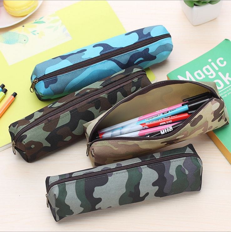New Pencil Case Cool Pattern PencilCases Stationery Student School 4 Colors Fashionable