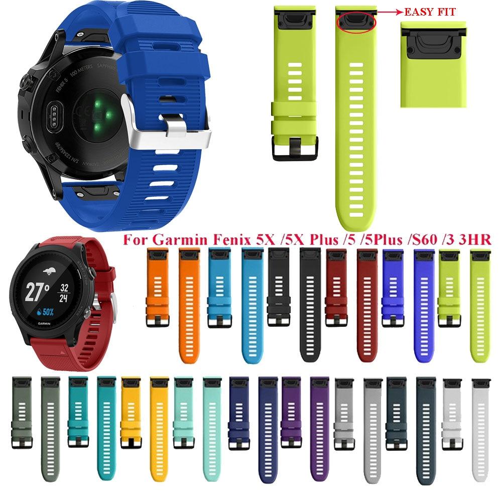 Watchband Strap 20 22 26mm for Garmin Fenix 5X 5 5S 3 3HR D2 S60 GPS Watch Quick Release Silicone Easyfit Wrist watchBands Strap