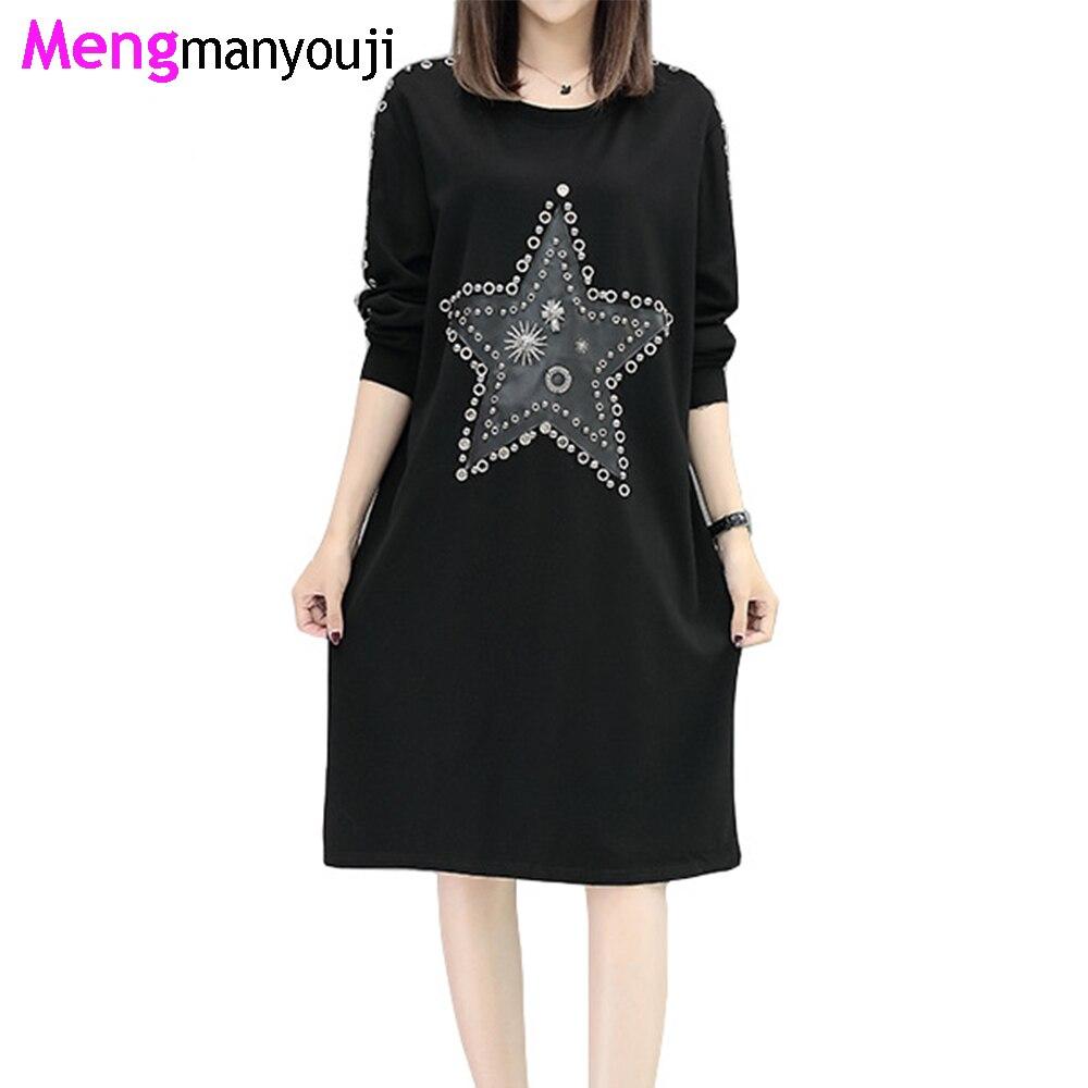 Autumn font b Women b font Cotton T Shirt Dress Sequined Star Hole Street O Neck