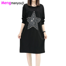 Autumn Women Cotton T Shirt Dress Sequined Star Hole Street O Neck Long Sleeve Loose Casual YL3037 Plus Size Black Clothing