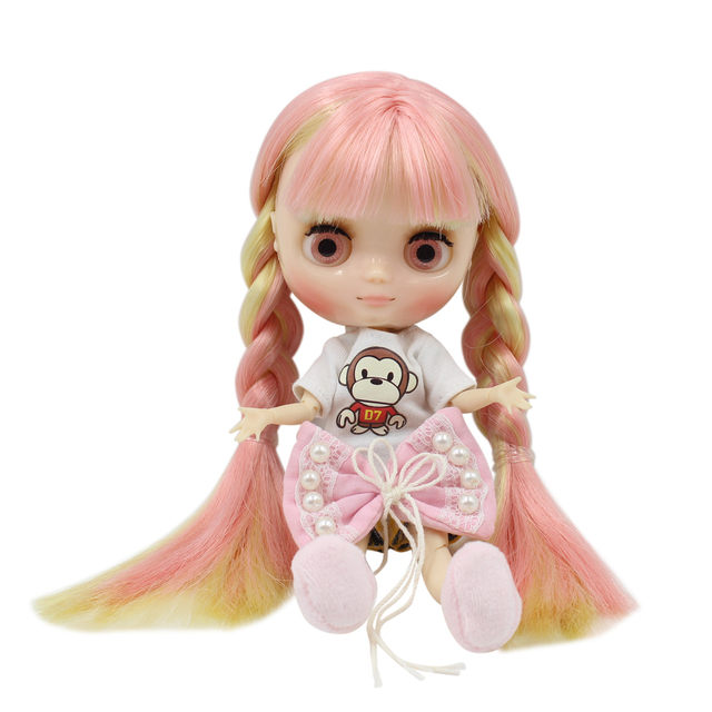 Factory Blyth Doll  Nude Doll Middle Blyth Pink Eyes Pink N Golden Mixed Color Hair  Height 20Cm