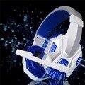 Anti-ruido Luces LED Stereo bass Auriculares para Juegos Para PC Gamer encouter Resplandor Auriculares Con MICRÓFONO USB + 3.5mm Cable de Audio blanco