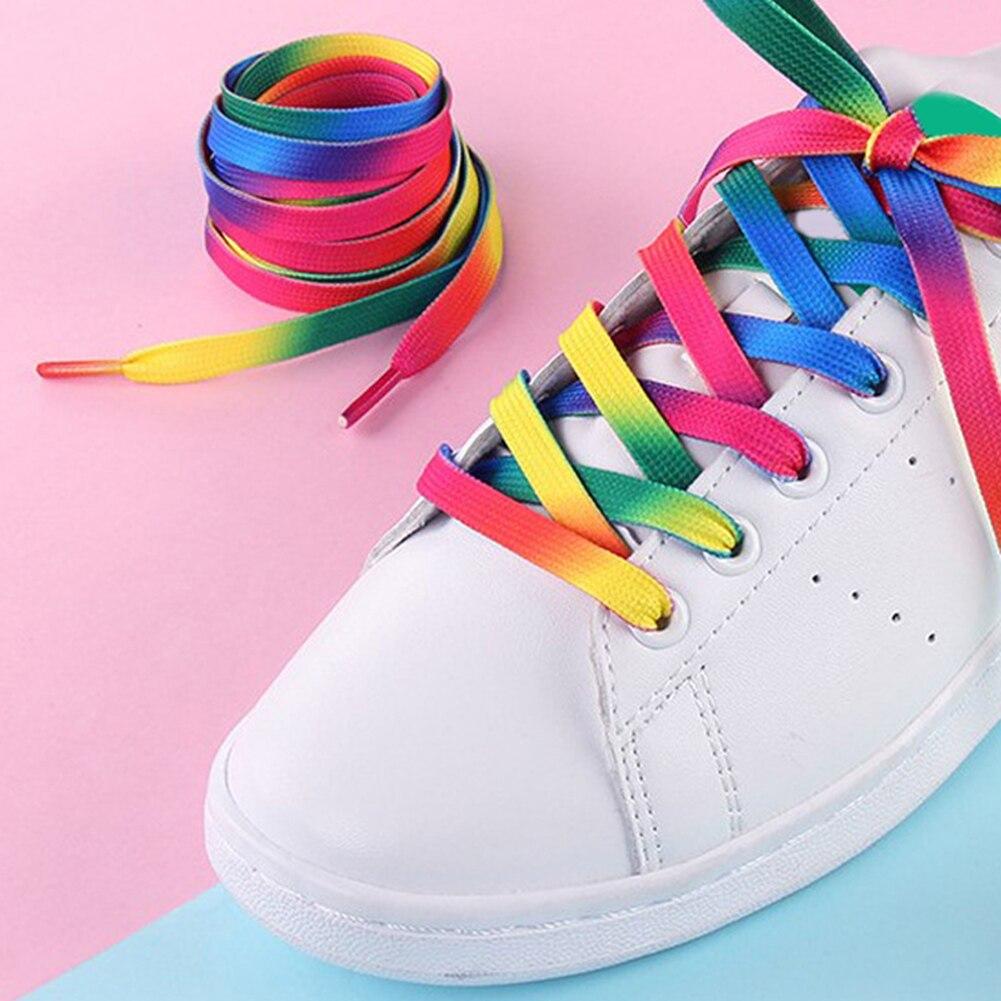 Women Men Printed Shoelaces Decoration Pattern Colored Shoe Laces Flat Shoelaces