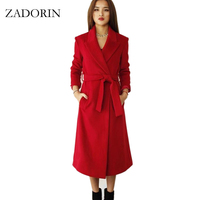 2016 Winter Coat Women Long Jacket Elegant Cashmere Coat With Belt Black Red Wool Coat Female