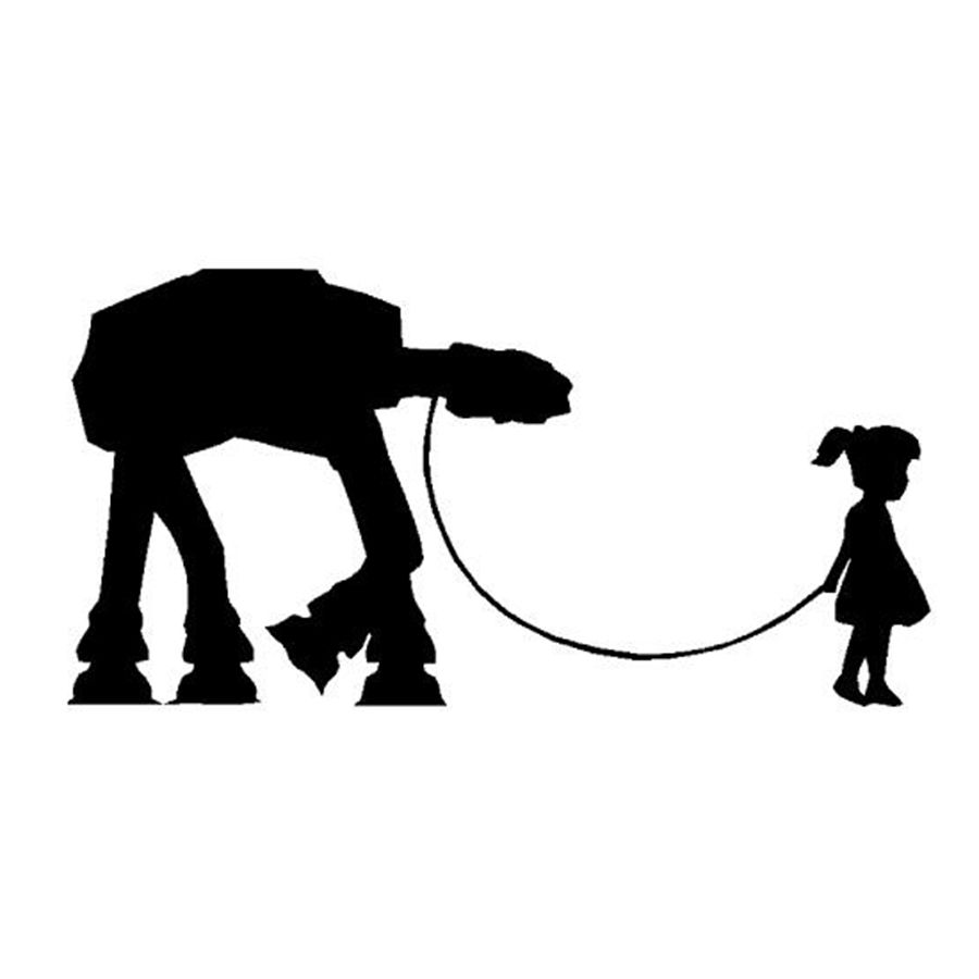 """""""A Girl and Her At"""" Movie Posters Car Decals Star Wars Laptop Vinyl Stickers For Girls Decoration"""