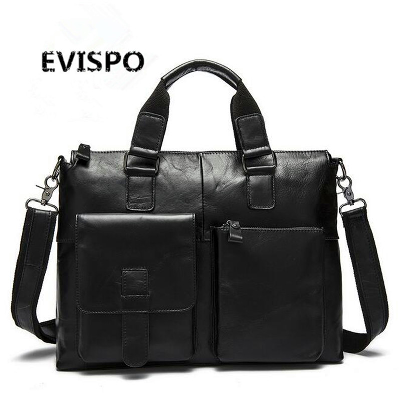 EVISPO Genuine Leather Men Briefcase Man Bags Business Laptop Tote Bag Men's Crossbody Shoulder Bag Men's Travel Bags HB37 самсунг гэлакси с4 мини купить