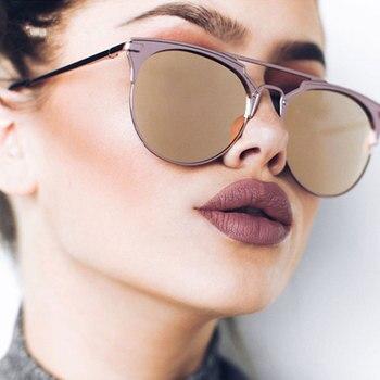 High Quality Cat Eye Sunglasses Women Brand Designer Pink Vintage Round Sun Glasses For Women Female Lady Sunglass Mirror Shades