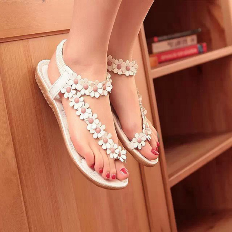 Laamei Women Sandals Summer Women Shoes 2018 Fashion Flip Flops Women Flat Sandals With Flowers Girls Bohemian Ladies Flat Shoes glglgege 2018 woman sandals women shoes rhinestones summer flat sandals with flowers ladies flat shoes chaussure tenis feminino