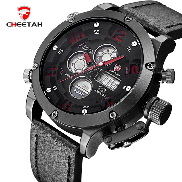 2017 New Luxury Top Brand CHEETAH Fashion Sports Men's Quartz Digital LED Clock Men Army Military Wrist watch Relogio Masculino
