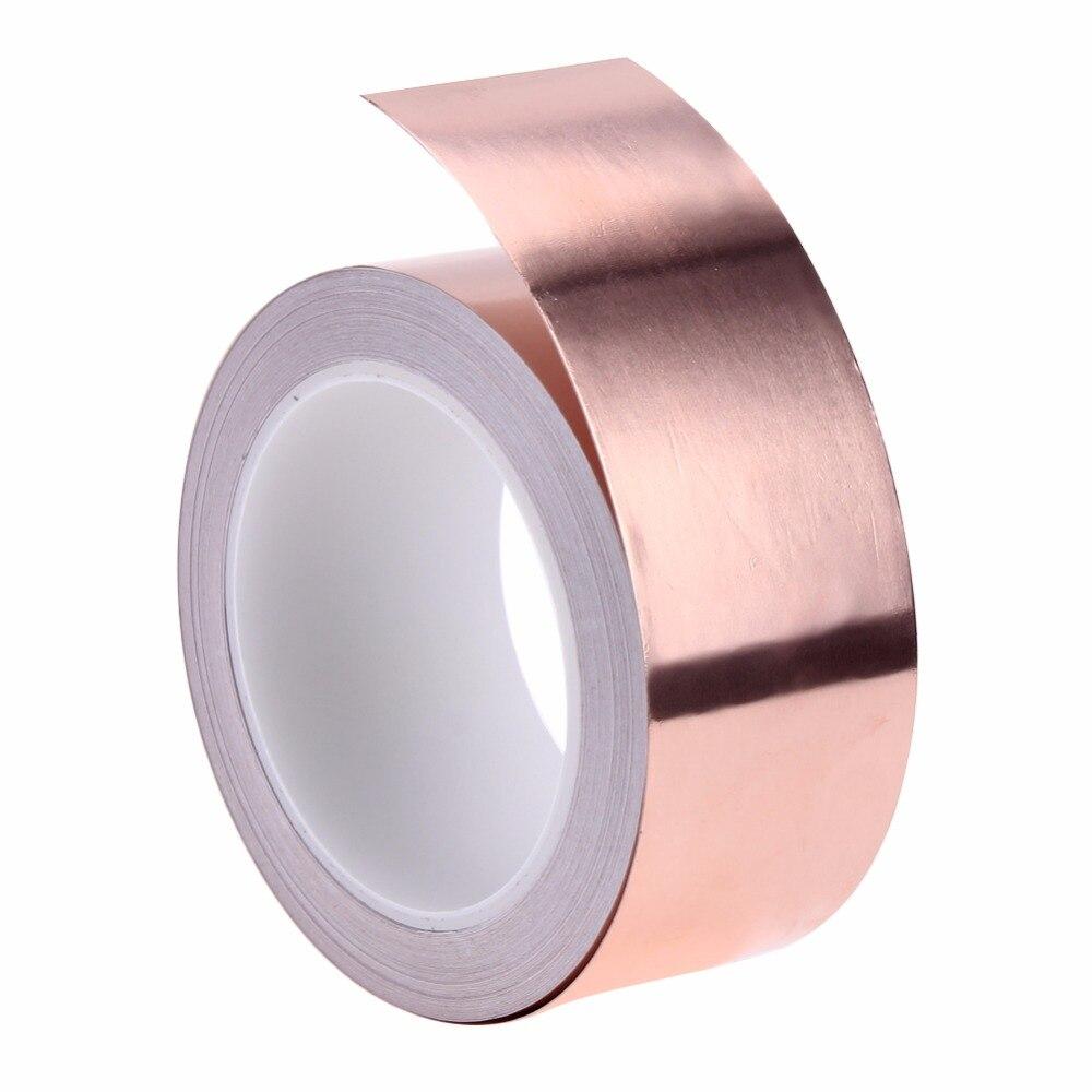 1 Roll Shielding Conductive Copper Foil Tape 20 Meters 5 cm Single Conductive Adhesive Tape Heat Insulation Copper Strip hot sale new 2 roll 5mm x 30m single conductive copper foil tape adhesive