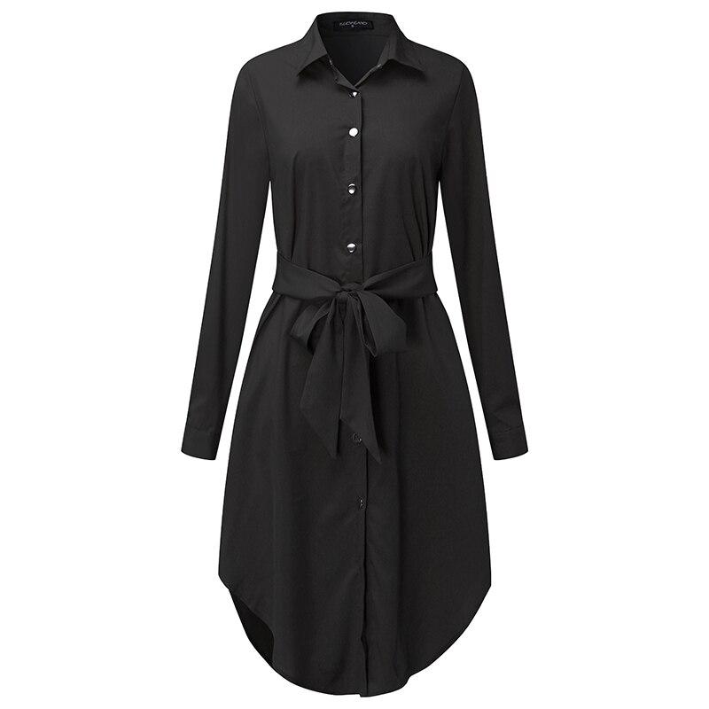2018 Women Casual Dress Solid Elegant Lapel Neck Long Sleeve Loose Oversized Shirt Dress Autumn Retro Belt Female Vestidos S-5XL