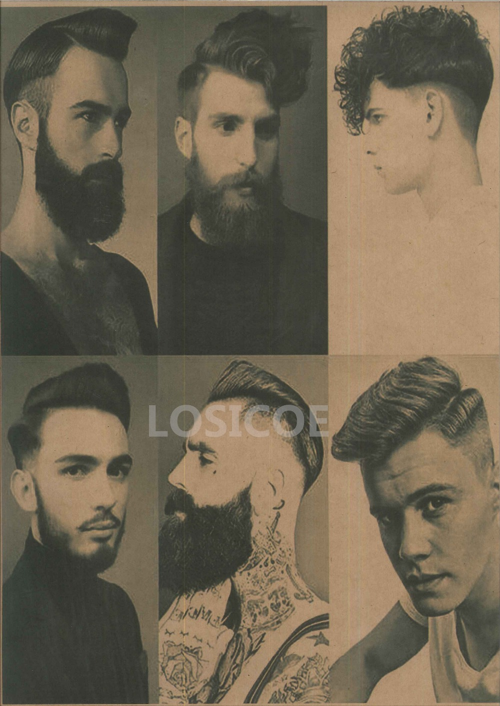 Mens Hairstyle Tattoos Vintage Patterned Posters Kraft Paper