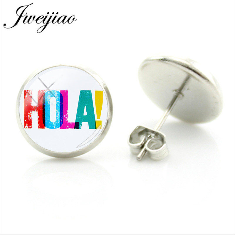 Us 0 7 30 Off Jweijiao Spanish Hola Letter Stud Earrings Spain Flag Personalized Gl Cabochon Jewelry For Women Gift Sa17 In