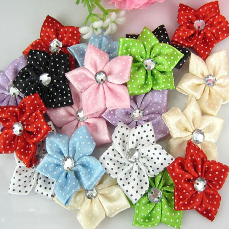 Aliexpress.com   Buy 40pcs satin dot ribbon flower with acrylic rhinestone  fabric flowers applique craft wedding decorations 3.5cm from Reliable flower  ... b90fd2bcb218