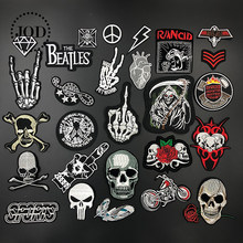 Black White Embroidered Skull Iron on Patches for Clothing biker DIY Badge Fabric Stickers Applique Embroidery Patch Clothes(China)