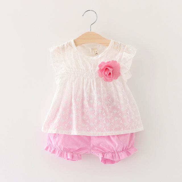 Nuevo 2016 verano de la mosca de manga blusa + pantalones 2 unids ropa del bebé fijan bebés niñas trajes de bebé original lindo recién nacido traje