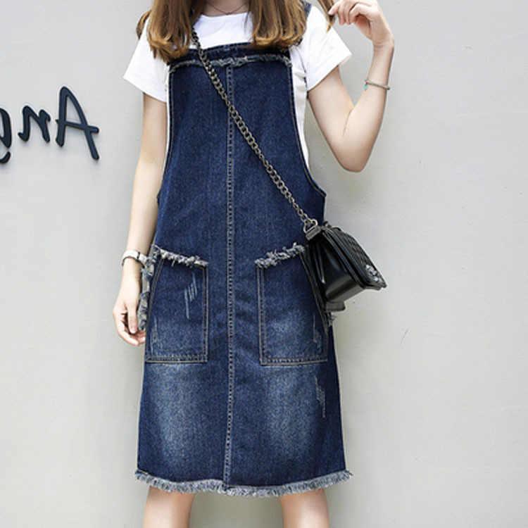 Джинсовое платье Xl/5Xl женское летнее без рукавов джинсовый сарафан подтяжки ковбойские платья большой размер vestidos Robe Femme J2207