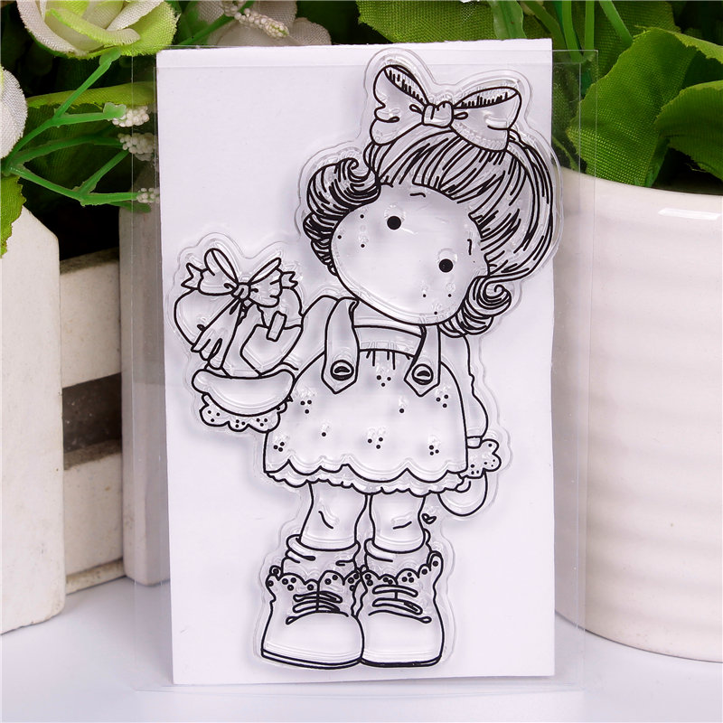 fine Cartoon girl blessing DLKSDI Transparent Clear Stamp DIY Silicone Seals Scrapbooking / Card Making/Photo Album Decoration loving heart and ballon transparent clear stamp diy silicone seals scrapbooking card making photo album craft cl 285