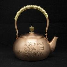 1.2 handmade red copper teapot glass samovar ceramic enameled from clay kettle metal puer green tea gift Japanese