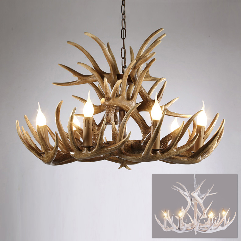 American country resin candle antler chandelier Europe deer horn chandeliers lighting fixture LED vintage tree chandelier