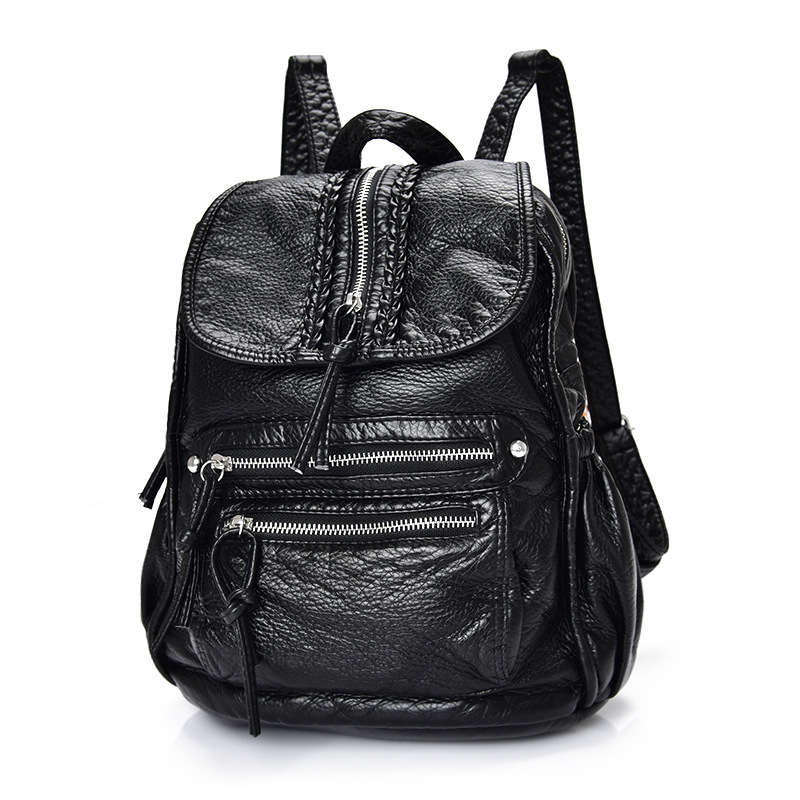 Fashion women PU leather ladies backpack new  retro style women shoulder travel bag girls school bag 2017 new korean man pu leather backpack male new style junior middle school students leisure travel backpack fashion bag