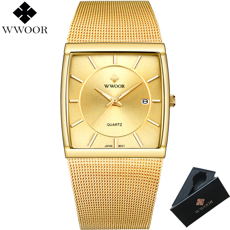 WWOOR Brand Luxury Gold Men Leisure Quartz Watch Men Business Date Clock Male Stainless Steel Sports Watches Relogio Masculino
