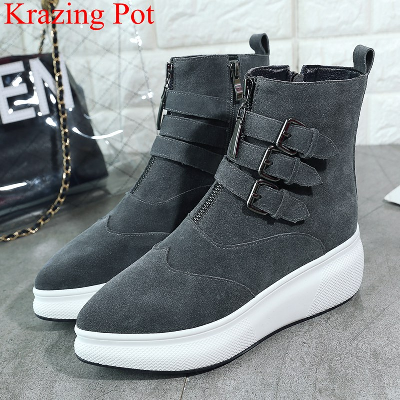 2018 superstar cow suede wedge women ankle boots pointed toe casual thick bottom buckle strap platform mujer winter shoes L3f7 2018 superstar cow suede wedge women ankle boots pointed toe casual thick bottom buckle strap platform mujer winter shoes L3f7