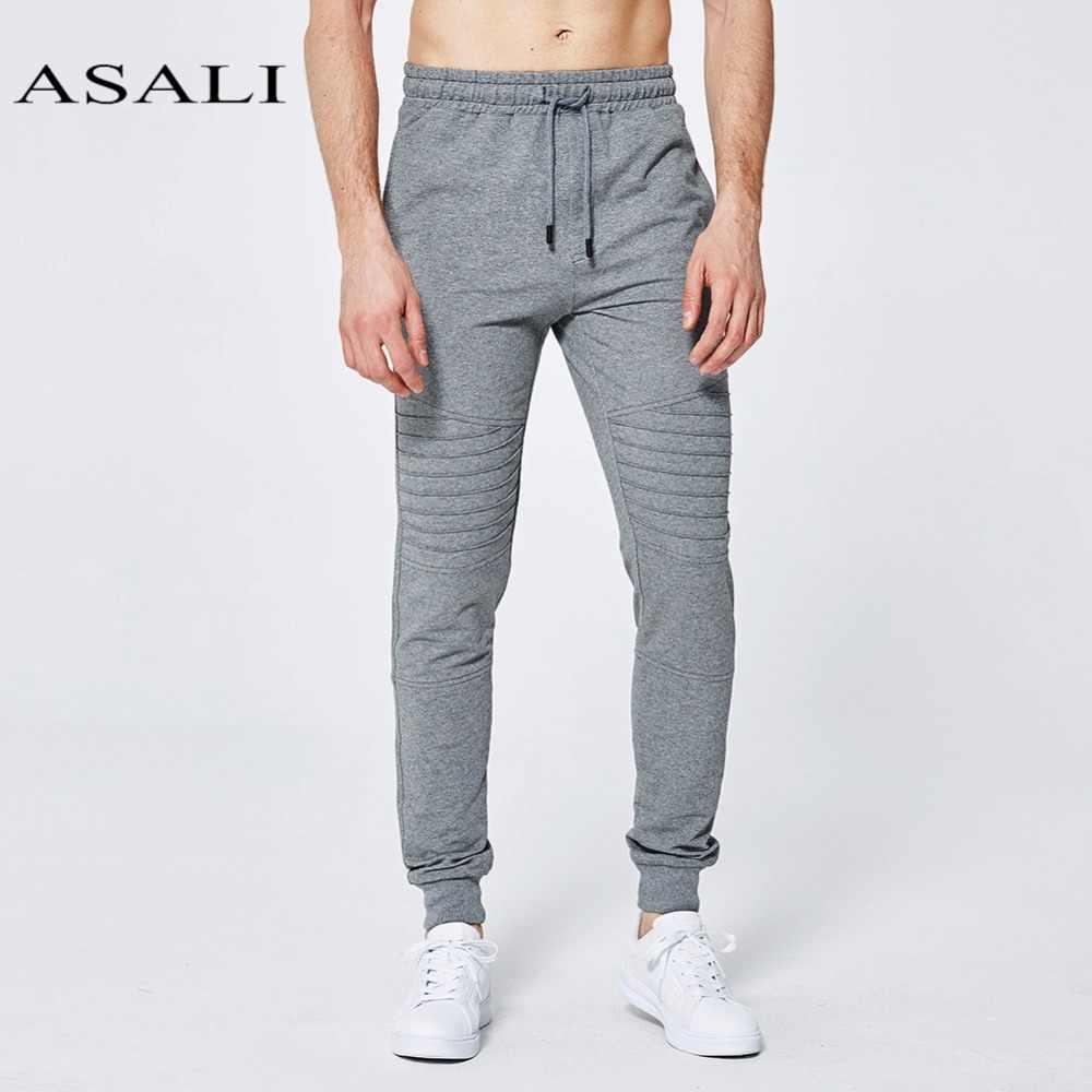 Asali мужские узкие брюки 2019 Фирменная Новинка хлопковые брюки модные длинные мужские брюки Повседневное однотонные шорты Фитнес тренировки джоггеры