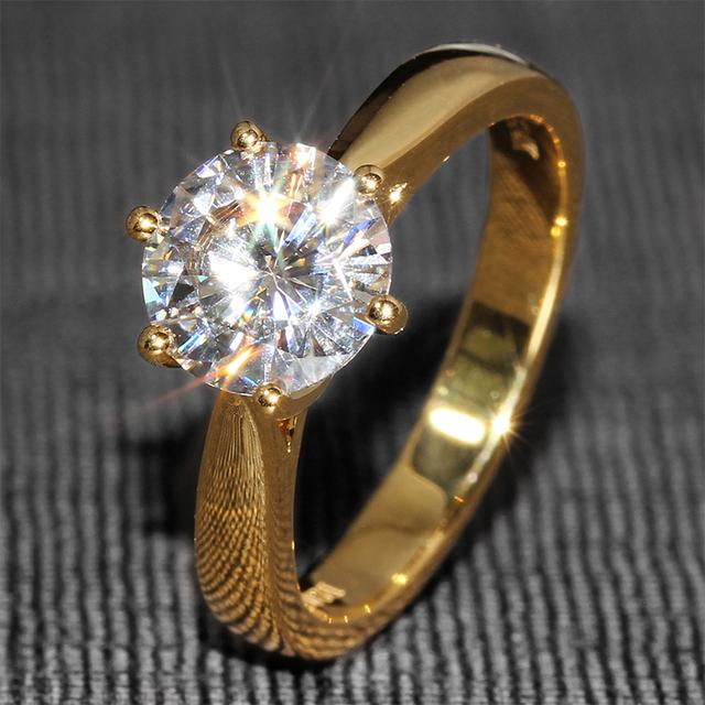 Queen brilliance 2 carat ct f color laboratorio crecido moissanite Anillo de bodas De diamante Sólido 14 K Oro Amarillo 585 Para mujeres