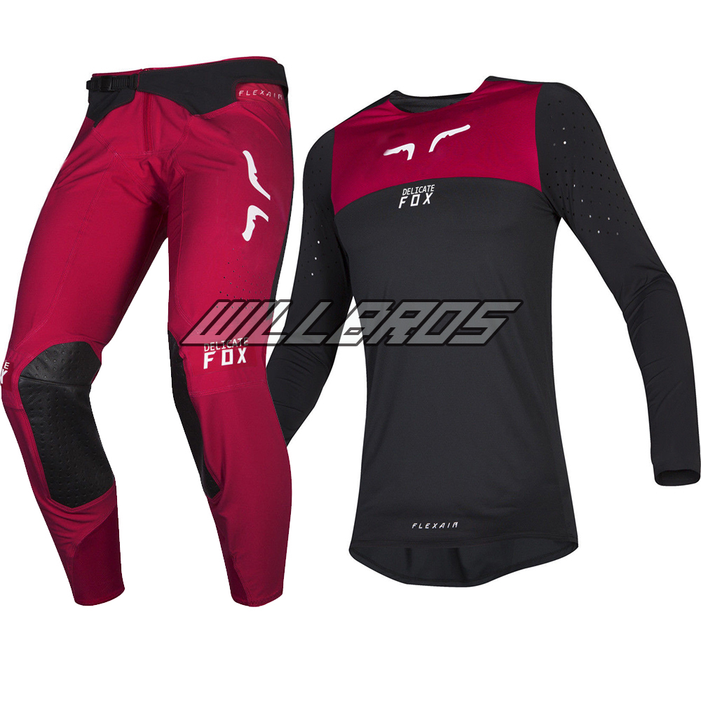 High Quality!Delicate Fox Motorcycle 2019 Flexair Motocross Racewear Royl Flame Red Adult Jersey Pant Combo Bike Gear Set