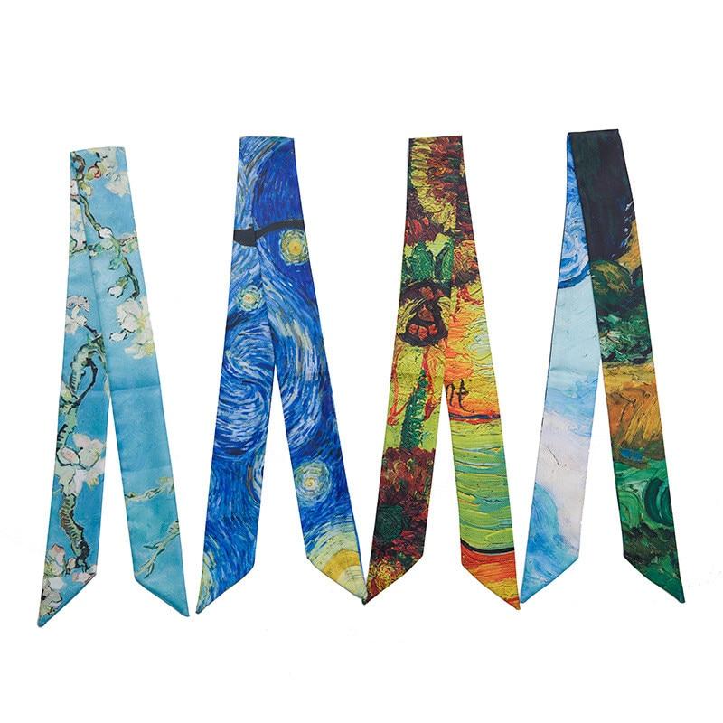 Oil Painting Bag Ribbons 2018 New Print Silk Scarf Women Female Headwear Handbag Small Long Scarves & Wraps