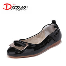 Free Shipping Russia cheap price Patent Leather Foldable ballet shoes for dancing wedding party birthday ladies flats ballerina