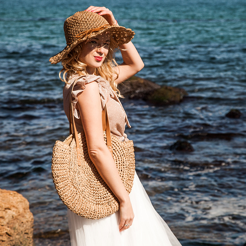 REREKAXI Hand-woven Round Woman's Shoulder Bag Handbag Bohemian Summer Straw Beach Bag Travel Shopping Female Tote Wicker Bags 2