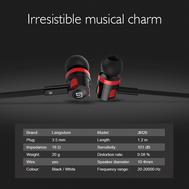 Langsdom JM26 Earphone Headphones with Mic In Ear Earphones Stereo Hifi Headset for Phone auriculare fone de ouvido dropshipping