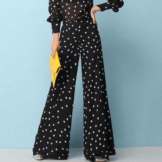 Aliexpress.com : Buy 2017 Vintage Polka Dot Wide Leg Pants Women ...