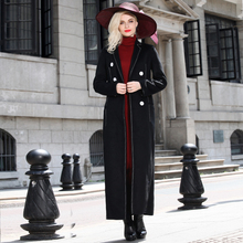 2016 S-XXXL Superior Quality Black Woolen Coat Winter New Fashion Designer Double Breasted Long Maxi Overcoat Plus Size Jacket