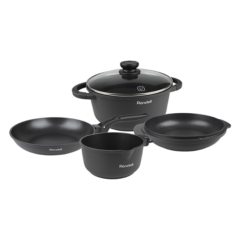 Dinner set Rondell The One 6 items RDA-563 (Thickened cast aluminum, Pan 24 cm (5L) frying Pan 24 cm, Stewpot 24 cm, Bucket 16 cm, 24 cm, Detachable handle) 12 8 cm horizontal single joint potentiometer b10k t handle