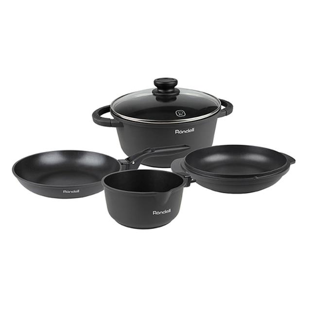 Набор посуды Rondell The One 6 предметов RDA-563 (Утолщенный литой алюминий, Кастрюля 24 см (5л), Сковорода 24 см, Сотейник 24 см, Ковш 16 см, Крышка 24 см, Съемная ручка)