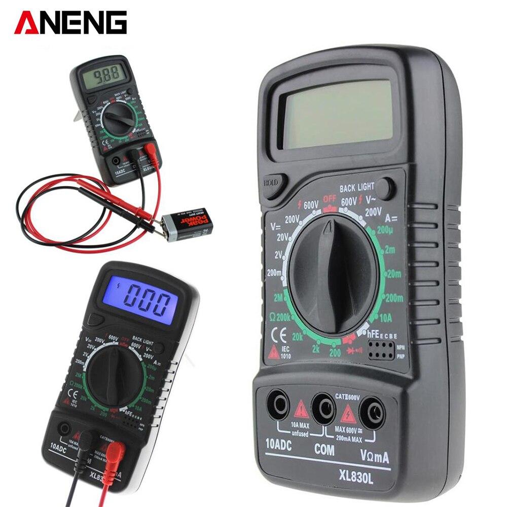 Aneng XL830L Цифровой мультиметр Портативный мультиметра AC/DC напряжение постоянного тока Амперметр тестер сопротивления синий Подсветка