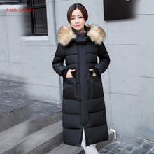 Fairy Dreams Women Long Jacket 2017 Winter Coat Made Of Goose Feather Slim Down Parka Fur Pockets Green Black Plus Size Clothing