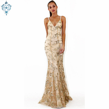 Ameision Sequins Bridesmaid Dress Long Net yarn Mermaid Wedding Party Gowns Women Deep V neck backless Halter banquet Dresses