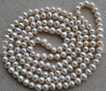 Wholesale Pearl Necklace, Long 40 Inches 6-7mm White Color Genuine Freshwater Pearl Necklace , Handmade Party Jewellery.