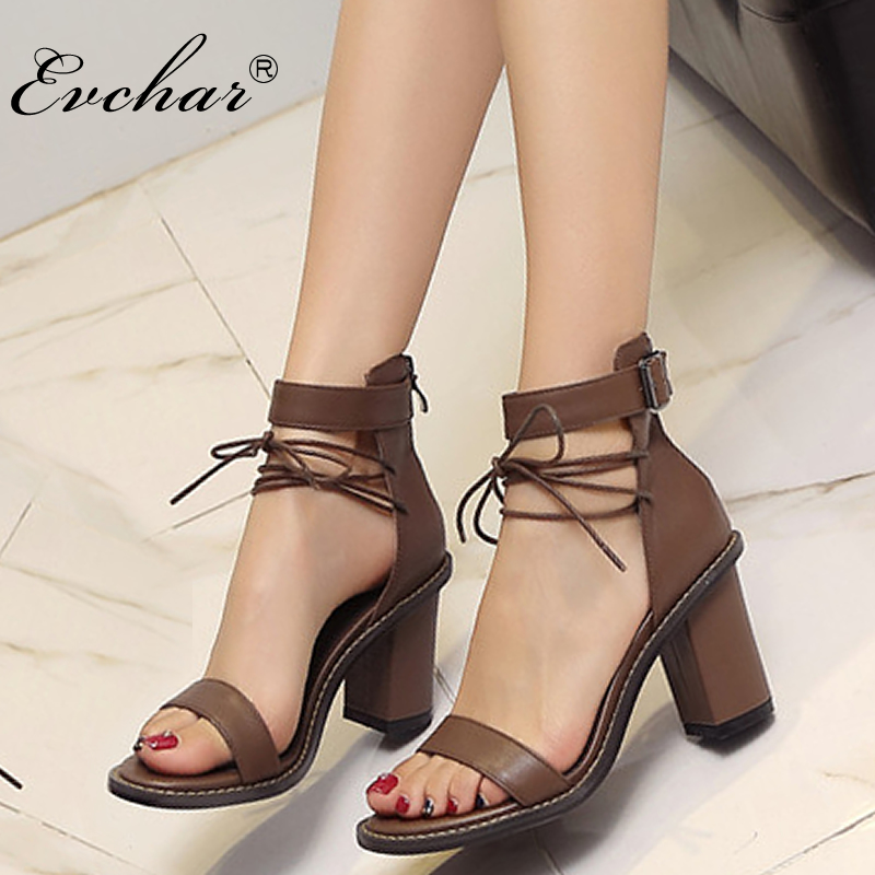 NEw Summer Shoes thick High Heel Sexy Genuine Cow Leather Sandals Elegant Woman Fashion Black brown Dress Shoes size 34-39 sandals genuine leather new woman s shoes high heel 10cm platform 1cm female summer small yards small yards eur size 34 39 page 5