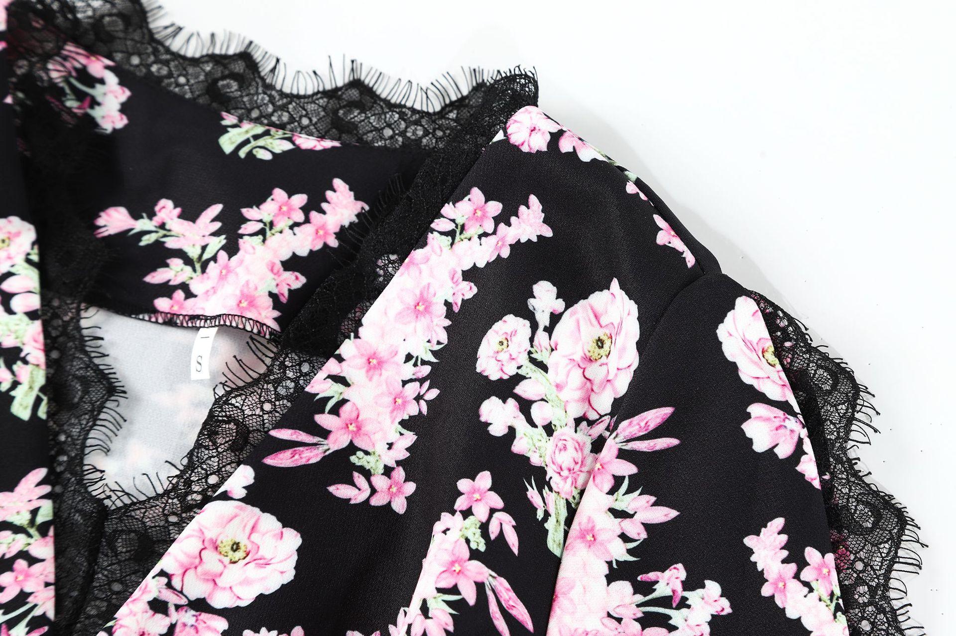 Qyfcioufu Vintage Imprimé Moulante Femmes Sexy Automne 2018 Noir Designer Parti Robes Sirène cou De Robe Ruches Slim V Floral 0W078np
