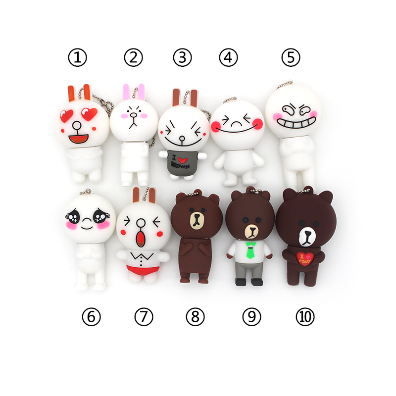 Cute Rabbit Usb Flash Drive 32GB 64GB Cartoon Bear Pen Drive 4GB 8GB 16GB Flash Usb